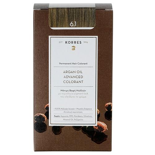 KORRES Βαφή Argan Oil 6.1 Ξανθό Σκούρο Σαντρέ - 50ml