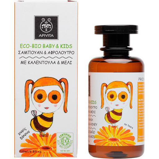 APIVITA Eco Bio Baby & Kids Σαμπουάν & Αφρόλουτρο με Καλέντουλα & Μέλι - 200ml