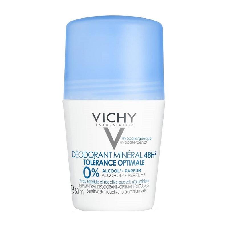 VICHY Deodorant Mineral Roll-on 48H 0% Alcohol, Αποσμητικό Χωρίς Άρωμα για Ευαίσθητες Επιδερμίδες - 50ml