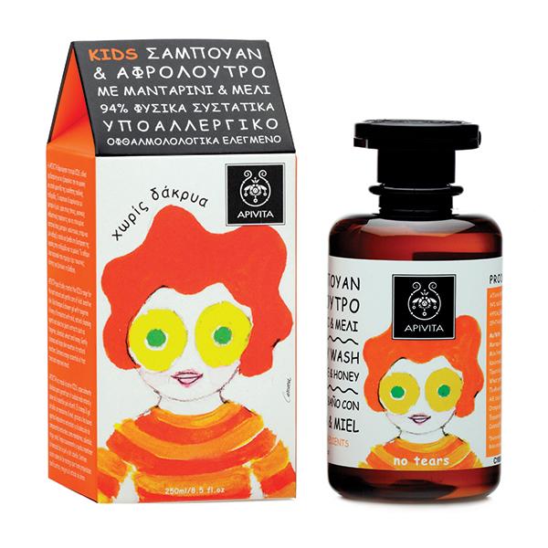 APIVITA Παιδικό Σαμπουάν & Αφρόλουτρο Μανταρίνι-Μέλι 250ml