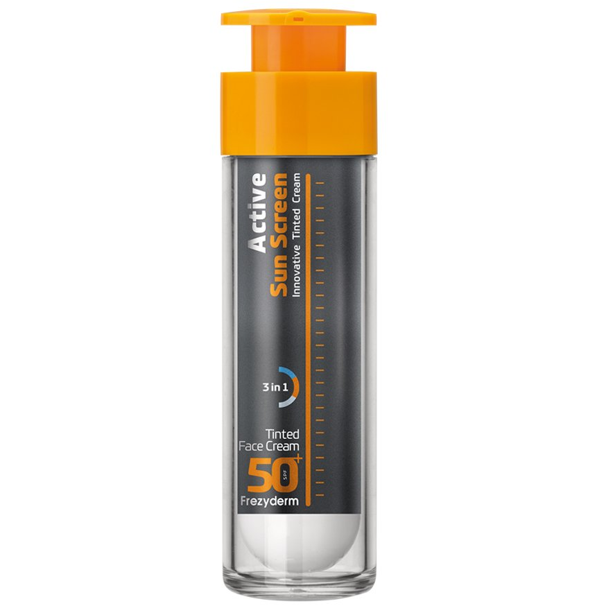 FREZYDERM Active Sun Screen Tinted Face Cream SPF50, Αντηλιακή Κρέμα με χρώμα - 50ml