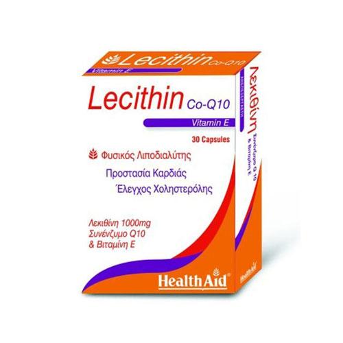 HEALTH AID Lecithin 1000mg & Natural Vit E 45IU & CoQ10 10MG 30CAPS