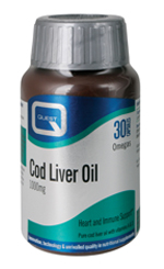 QUEST Cod Liver Oil 1000mg με βιταμίνες A & D 30Caps