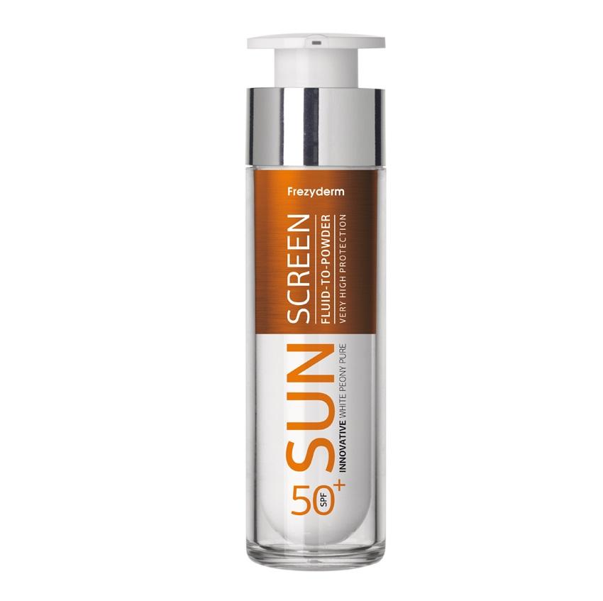 FREZYDERM  Sun Screen Fluid to Powder SPF50+, Αντηλιακό Προσώπου με Αίσθηση Πούδρας - 50ml