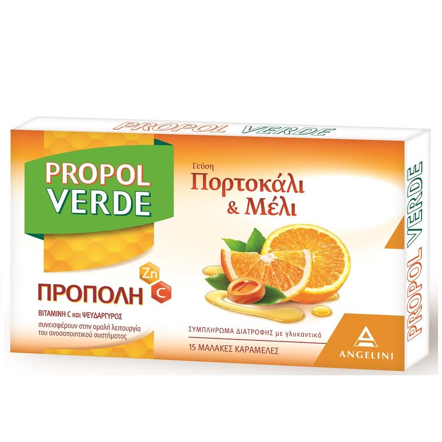 ANGELINI Propol Verde, Καραμέλες Πορτοκάλι & Μέλι - 15τεμ