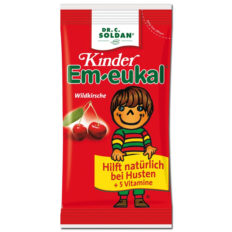 EM-EUKAL Kids Wild Cherry Καραμέλες για Πονόλαιμο για Παιδιά Χωρίς Ζάχαρη 75gr