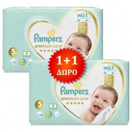 PAMPERS Premium Care No 5 (11-16 Kg) - 44τμχ, 1+1 Δώρο