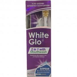 WHITE GLO Mouthwash - Λευκαντική Οδοντόκρεμα 2 σε 1, 150gr + ΔΩΡΟ Οδοντόβουρτσα + Μεσοδόντια Βουρτσάκια