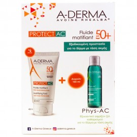 A-DERMA  Protect AC Fluide Matifiant Tres Haute Protection SPF50+ 40ml & ΔΩΡΟ A-DERMA Phys-AC Gel Moussant Purifiant
