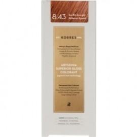 KORRES Βαφή Μαλλιών Abyssinia Superior Gloss Colorant Ξανθό Ανοιχτό Χάλκινο Χρυσό 8.43 50ml