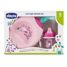 CHICCO Let's Get Started Set, Σετ Φαγητού 6m+, Ροζ