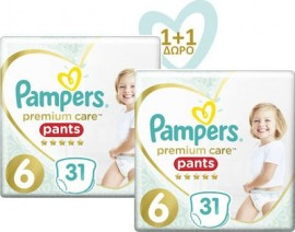 PAMPERS Premium Care Pants No 6 (15+kg) - 31τμχ, 1+1 Δώρο