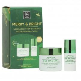APIVITA Merry & Bright, Bee Radiant Κρέμα Πλούσιας Υφής - 50ml & Δώρο Bee Radiant Κρέμα Ματιών - 15ml