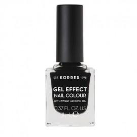 KORRES Gel Effect Nail Colour 100 Black  Με Αμυγδαλέλαιο 11ml