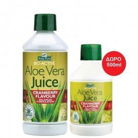 OPTIMA Aloe Pura Χυμός Aloe Vera Juice με Κράνμπερι - 1lt & Δώρο 500ml