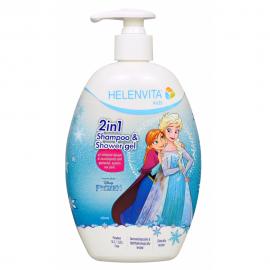 HELENVITA Kids Frozen 2 in 1 Shampoo & Shower Gel με υπέροχο Αρωμα και Εκχύλισμα απο Φράουλα Κεράσι και Ρόδι 500ml