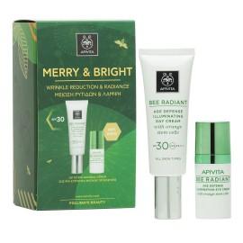 APIVITA Merry & Bright, Bee Radiant Κρέμα Ημέρας SPF30 - 40ml & Δώρο Bee Radiant Κρέμα Ματιών - 15ml