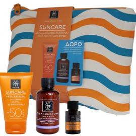 APIVITA Σετ Suncare Anti-Wrinkle Face Cream SPF50 50ml & Cleansing Foam Ελιά-Λεβάντα 75ml & Suncare Hair Oil 20ml & Νεσεσέρ