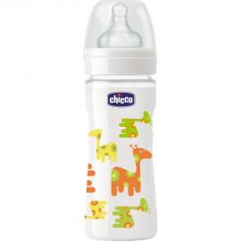 CHICCO Μπιμπερό Γυάλινο Θηλή Σιλικόνης Giraffe 0m+ 240ml