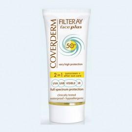 COVERDERM Filteray Face Plus SPF50, Soft Brown, Αντηλιακή Κρέμα Προσώπου με Χρώμα & After Sun, Λιπαρή/ Ακνεϊκή Επιδερμίδα - 50ml