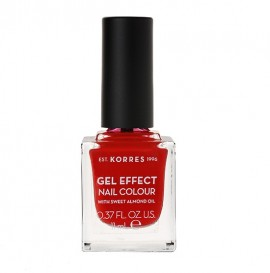KORRES Gel Effect Nail Colour 48 Coral Red Με Αμυγδαλέλαιο 11ml