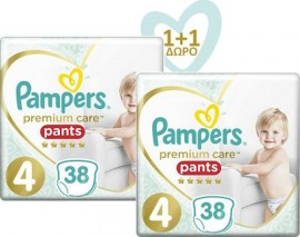 PAMPERS Premium Care Pants No 4 (9-15kg) - 38τμχ, 1+1 Δώρο
