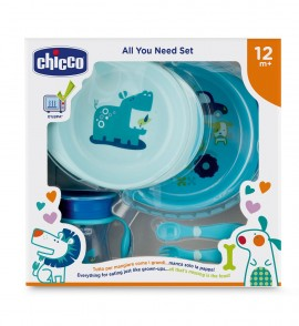CHICCO All You Need Set, Σετ Φαγητού 12m+, Μπλε