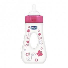 CHICCO  Μπιμπερό Πλαστικό Ροζ, Με Διπλή Λαβή για ασφαλές κράτημα, Γρήγορης Ροής, 240 ml