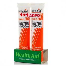 HEALTH AID Vitamin C 1000mg Γεύση Πορτοκάλι - 20 Αναβράζοντα Δισκία 1+1 ΔΩΡΟ