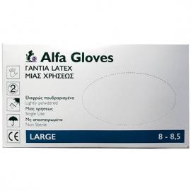 ALFA GLOVES - Γάντια Latex Μιας Χρήσεως Ελαφρώς Πουδραρισμένα Large 100τμχ