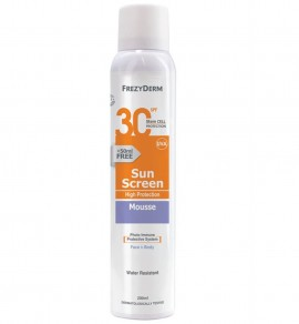 FREZYDERM Sun Screen Mouse SPF30, Αντηλιακός Αφρός - 200ml