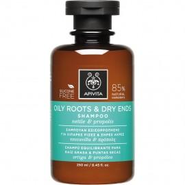 APIVITA Oily Roots & Dry Ends - Σαμπουάν Εξισορρόπησης Για Λιπαρές Ρίζες & Ξηρές Άκρες Με Τσουκνιδα & Πρόπολη 250ml