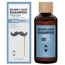 VICAN Wise Men Beard & Hair Shampoo, Fresh - 200ml