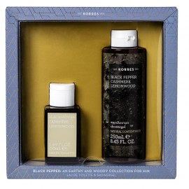 KORRES Σετ Black Pepper Cashmere Lemonwood, Eau De Toilette - 50ml & Αφρόλουτρο - 250ml
