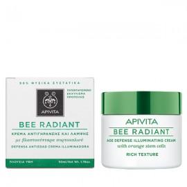 APIVITA Bee Radiant Κρέμα Αντιγήρανσης και Λάμψης με Βλαστοκύτταρα Πορτοκαλιού - Rich Texture 50ml