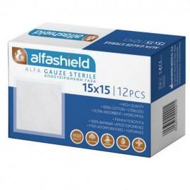 ALFASHIELD Alfa Gauze - Αποστειρωμένες γάζες 15x15cm - 12τμχ