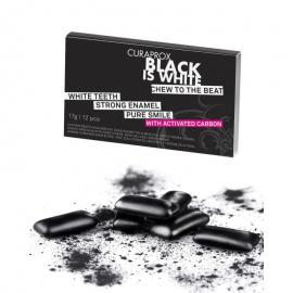 CURAPROX Black Is White Τσίχλα για Λευκά Δόντια με Ενεργό Άνθρακα, Μέντα & Λεμόνι -12τμχ