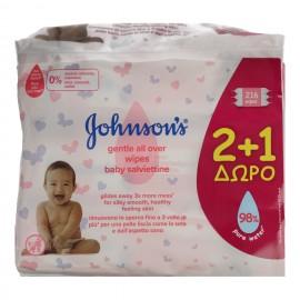 JOHNSON'S Baby Μωρομάντηλα Gentle All Over - 216τεμ  (2+1 Δώρο)