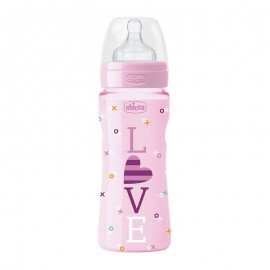 CHICCO Μπιμπερό Πλαστικό με Θηλή Σιλικόνης 4m+ σε Ροζ Χρώμα 330ml