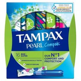 TAMPAX Pearl Compak Super, Ταμπόν με Απλικατέρ - 16τμχ