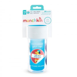 MUNCHKIN Miracle 360 Insulated Sticker Cup, Blue - 266ml