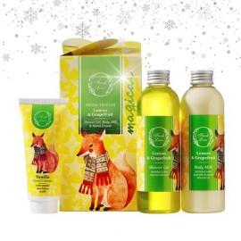 FRESH LINE Gift Set  Lemon & Grapefruit, Αφρόλουτρο - 200ml, Γαλάκτωμα Σώματος - 200ml, Κρέμα χεριών Βανίλια - 75ml