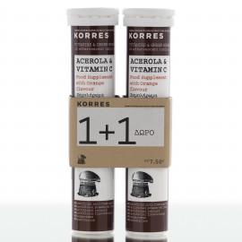 KORRES  1+1 ΔΩΡΟ Ασερόλα & Βιταμίνη C 2x20 Αναβράζοντα Δισκία