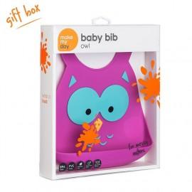 MAKE MY DAY  Baby Bib, Σαλιάρα Σιλικόνης Owl, 6+ μηνών - 1τμχ