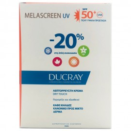 DUCRAY Set Melascreen UV Dry Touch Light Cream SPF50+, Κανονικό - Μικτό Δέρμα - 2 x40ml