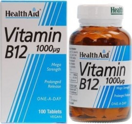 HEALTH AID Vitamin B12 Κοβαλαμίνη 1000μg Οικονομική Συσκευασία 100tabs