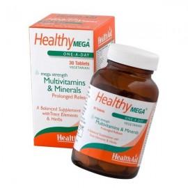 HEALTH AID Healthy Mega Multivitamins & Minerals Φυτικές Ταμπλέτες Βραδείας Αποδέσμευσης 30tabs