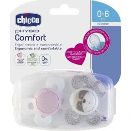 CHICCO Physio Comfort Σιλικόνης σε Ροζ - Λευκό Χρώμα  0-6m 2τμχ