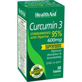 HEALTH AID Curcumin 3 600mg Αντιοξειδωτική Κουρκουμίνη & Πιπερίνη - 30tabs