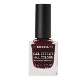 KORRES Gel Effect Nail Colour 57 Burgandy Red Με Αμυγδαλέλαιο 11ml